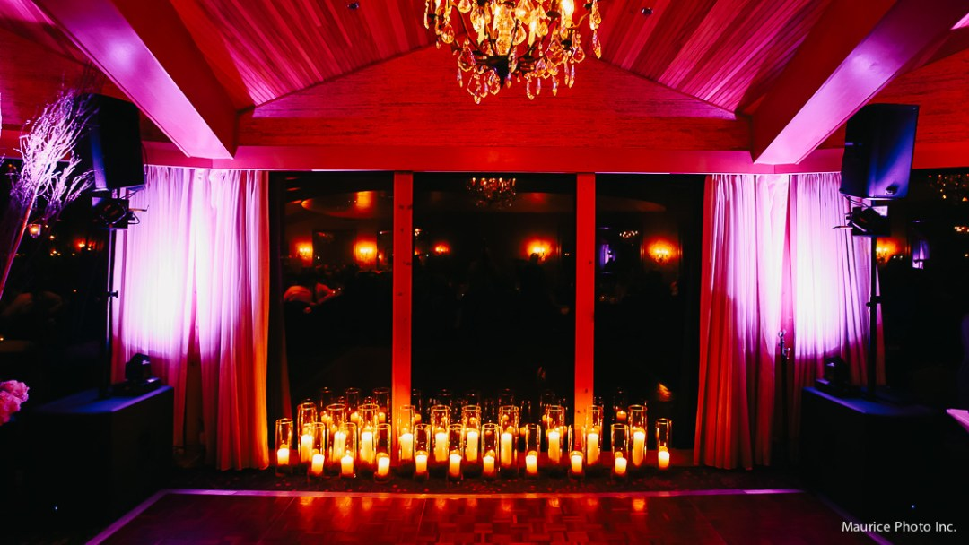 Candle lit reception at the Edgewater hotel.