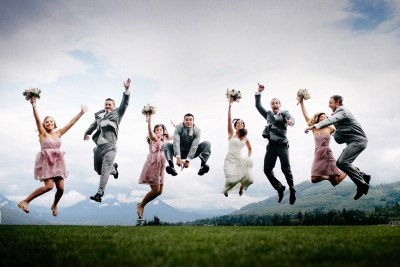 Bridal Party Jumping in the air at Snoqualmie Ridge