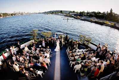 Wedding ceremony on the Skansonia on Lake Union.