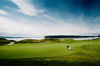 Bride and groom at Chambers Bay