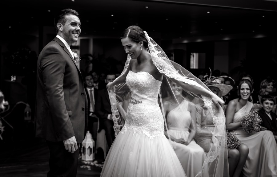 Image of Bride and Groom at their wedding ceremony in North Wales