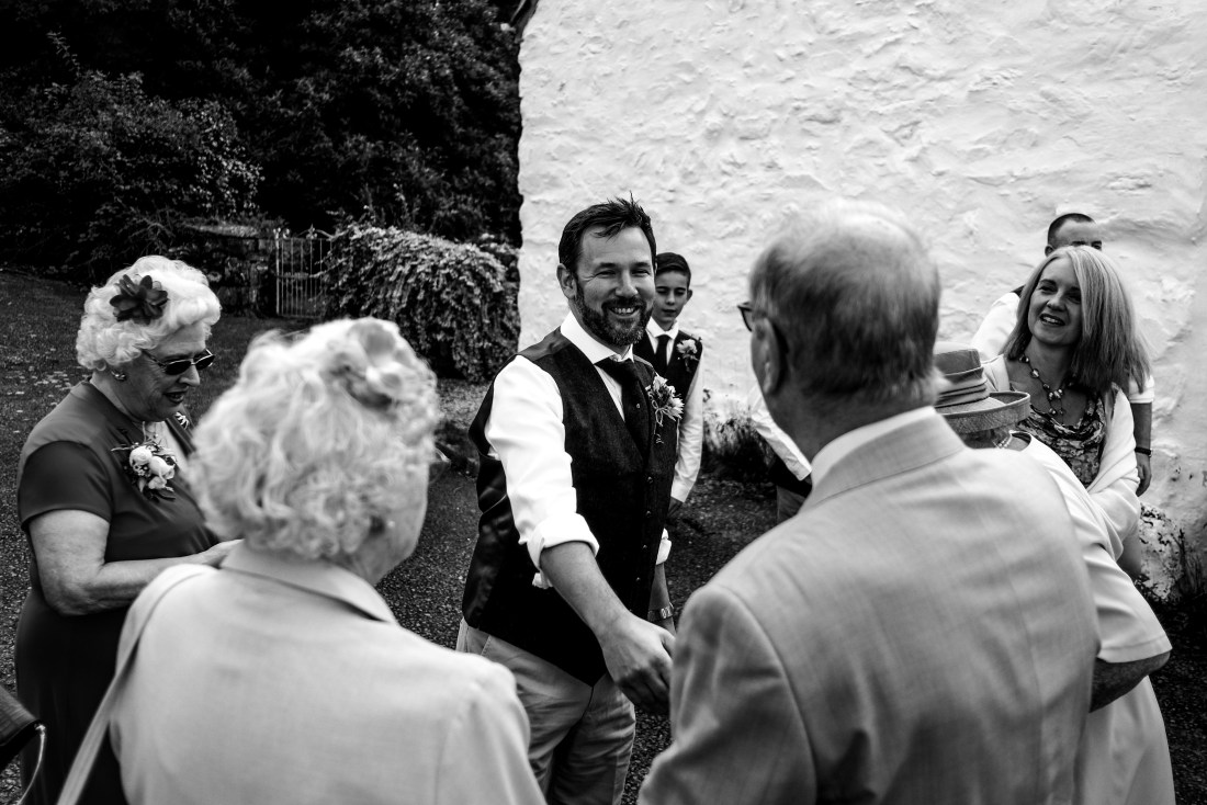 Hafod Farm Wedding - Groom meeting family