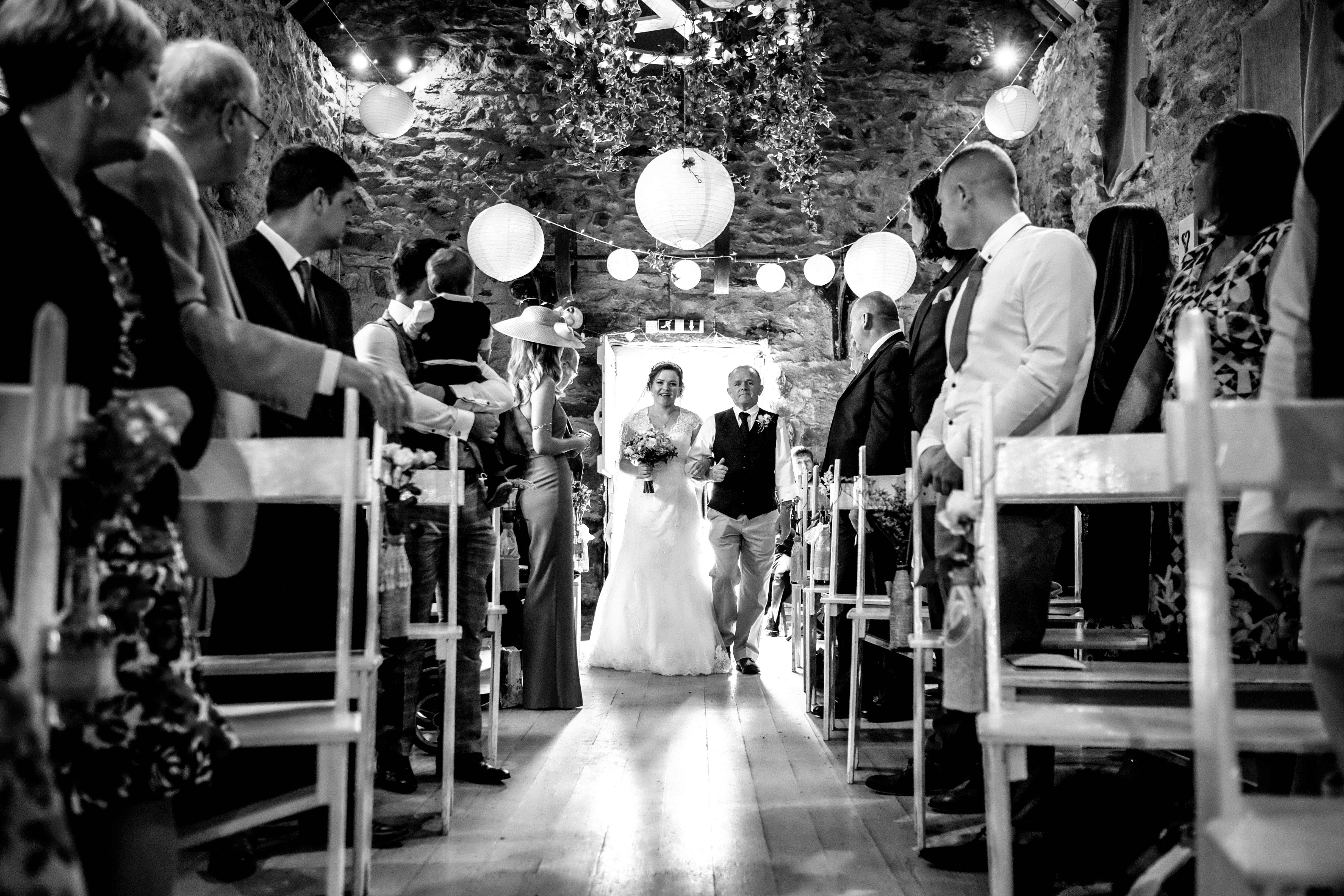 Hafod Farm Wedding - Bride and father walking up the aisle.