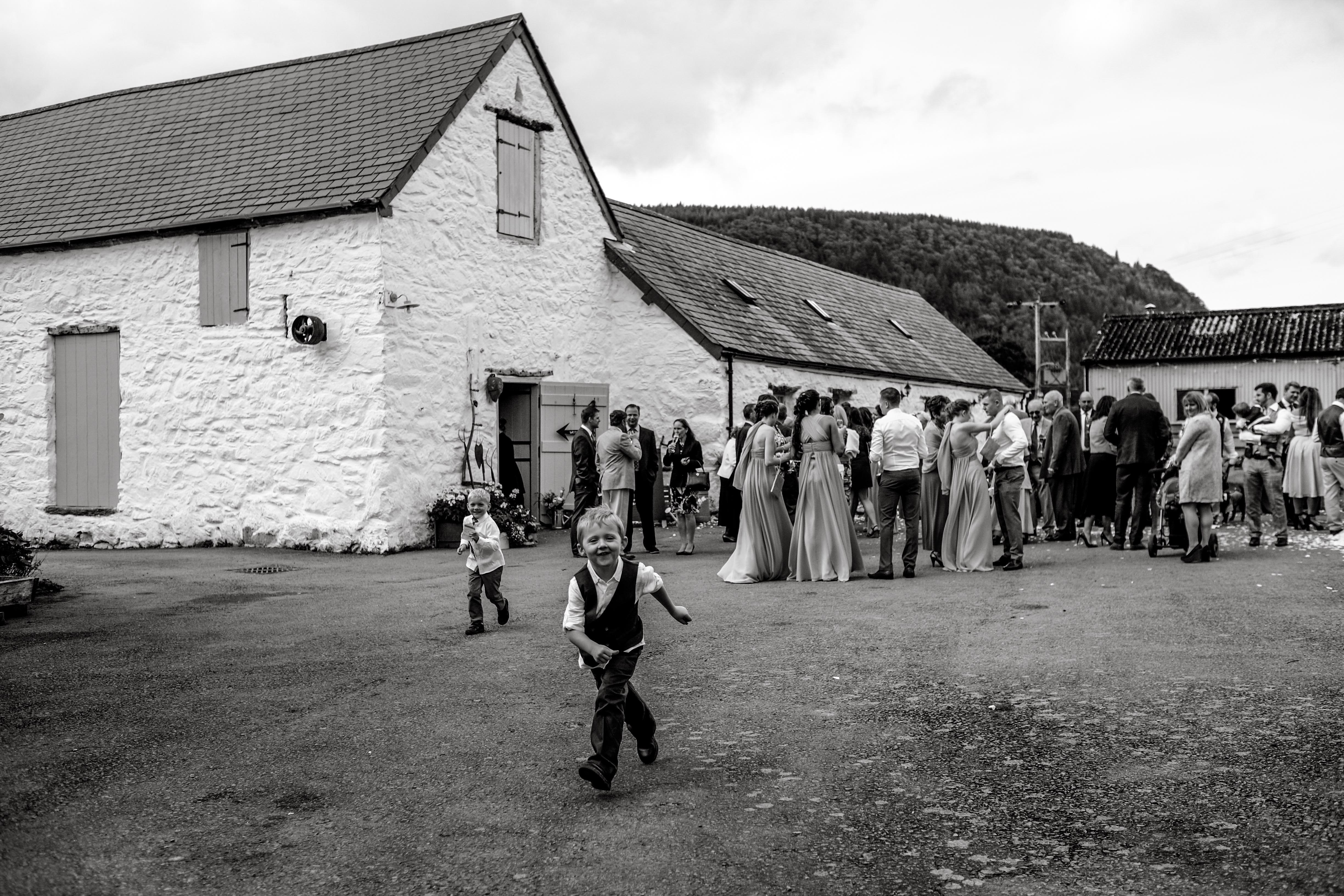 The wedding guests outside at the reception at a Conway wedding.