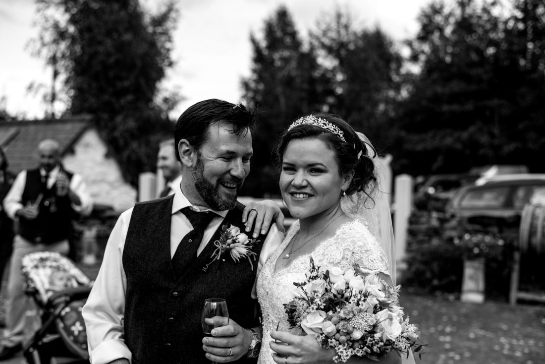 Hafod Farm Wedding - Happy bride and groom.