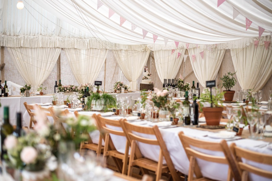 Hafod Farm Wedding - Lovely wedding breakfast setting.