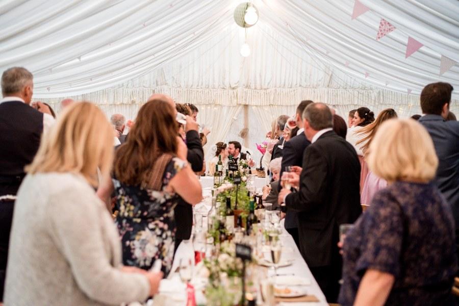 Hafod Farm Wedding - Bride and Groom Kiss.