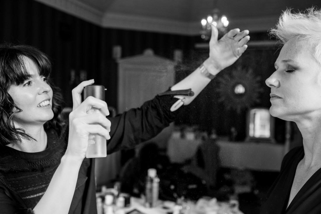 Statham Lodge Wedding - Hairspray for the bridesmaid