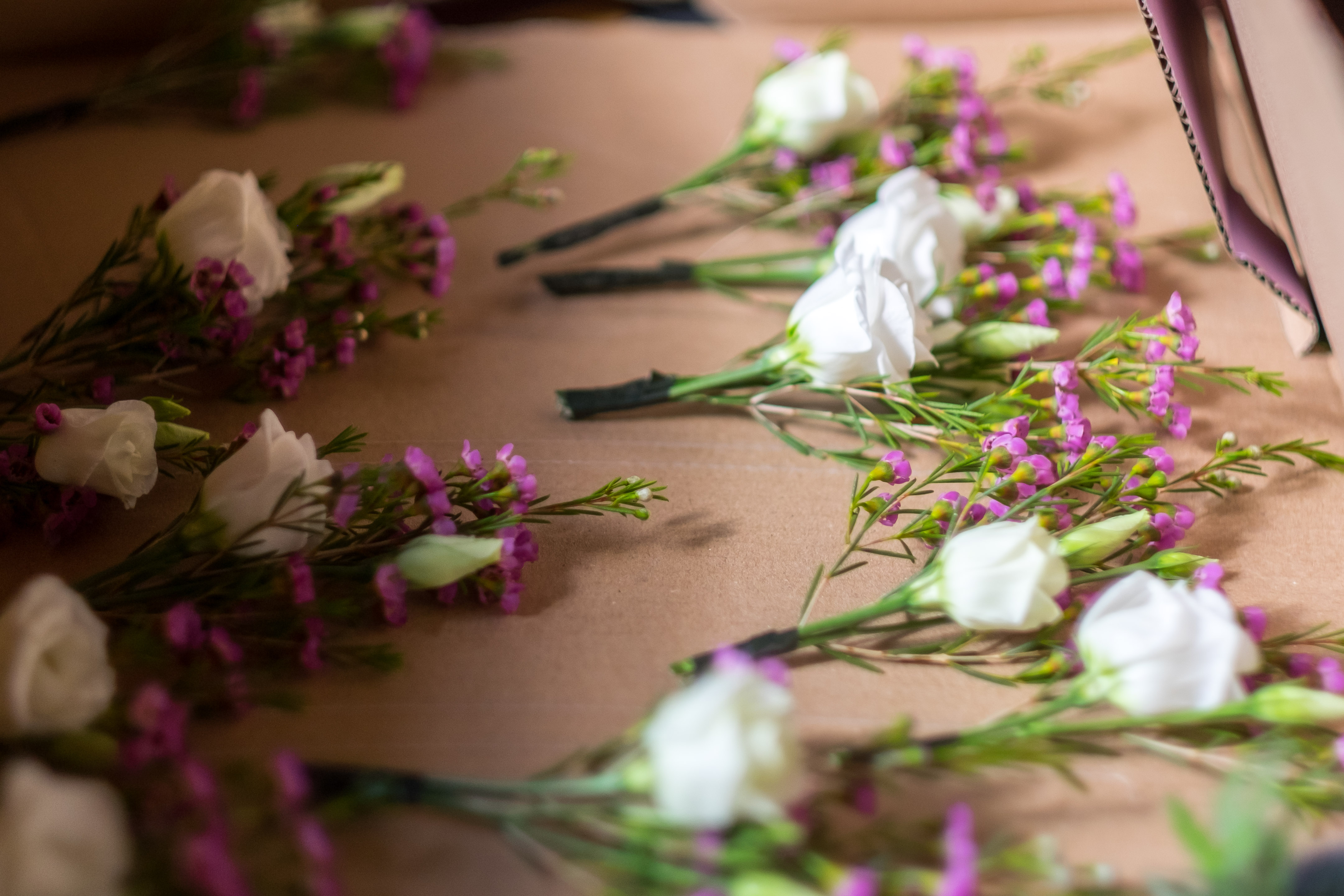 Wedding flowers in a box