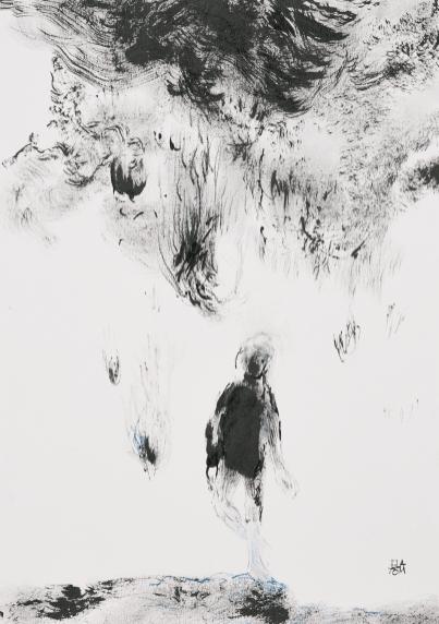 Ela Tom, Sans titre, 2021, Encre de Chine et pastel sec sur papier, 42 x 30 cm