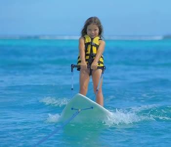 Child water-skiing in Mauritius