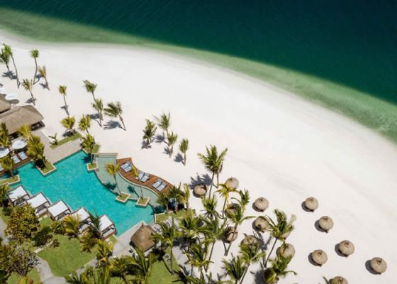 One and Only Le St Geran beach and swimming Pool aerial view