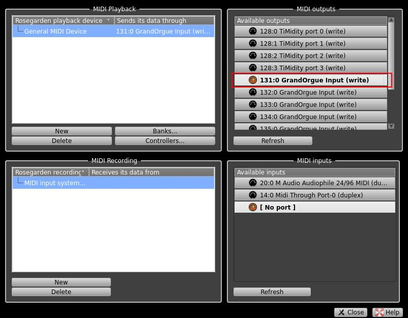 RoseGarden Manage MIDI Devices