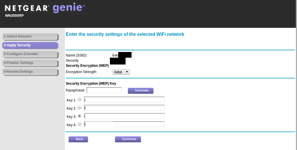 WN3000RP Security same setting as WIFI selected