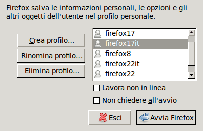 Firefox selezionare un profilo