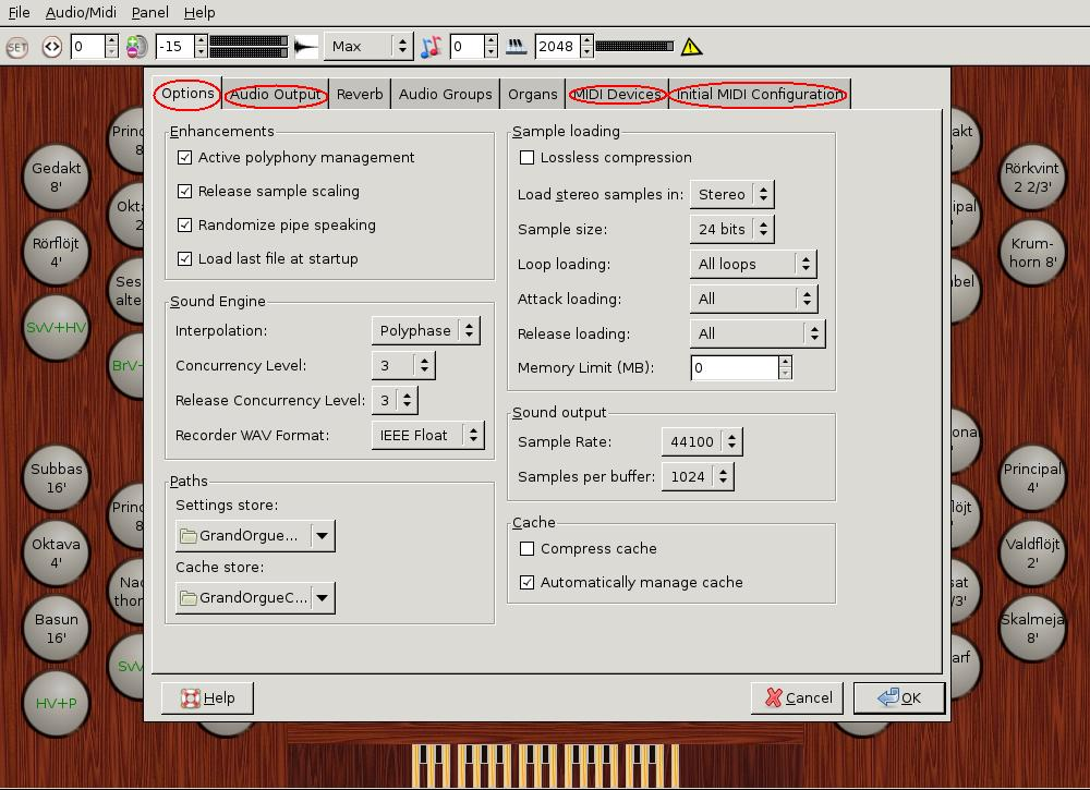 GrandOrgue: Audio Midi setting