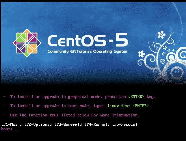 Start Centos-5 installation