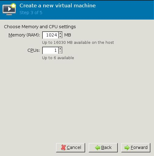 Step 3/5 Virt-manager new VM