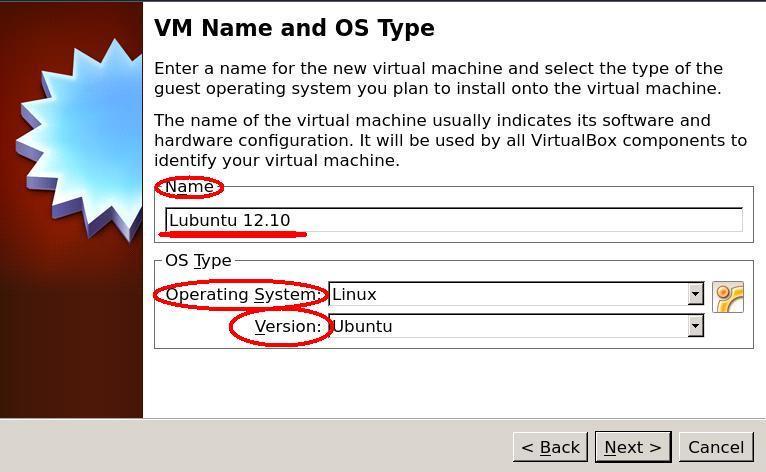virtualbox New VM name OS