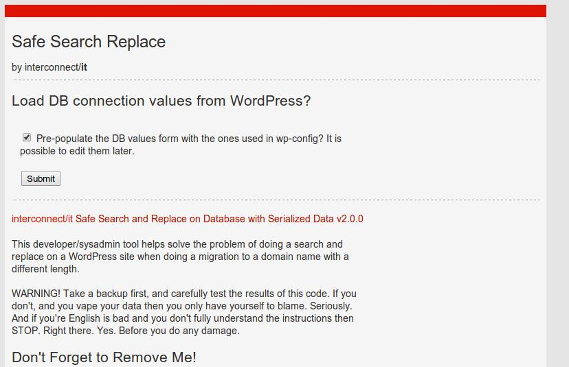 wordpress db search e replace