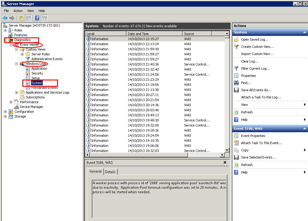 Server Manager - Event Viewer