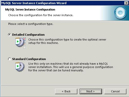 mysql 5.5 selected a configuration type