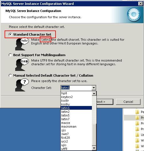 mysql 5.5 Selezionare il character set di default
