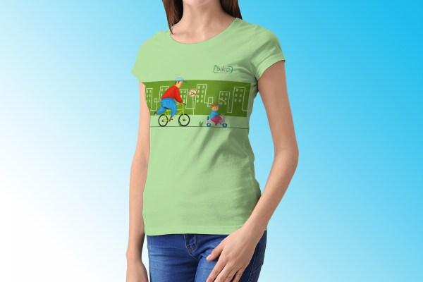 Bikefluenzer - Esempio Di Applicazione Del Marchio Su T-shirt, Illustrazione Di Vania Santi
