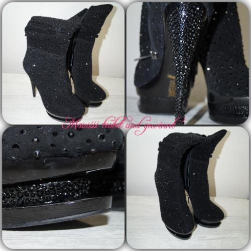 High Heels Perfect Stiefel / Stiefletten schwarz mit Strass
