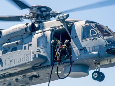 Refuelling Hose on CH-148 Cyclone Photo: Leading Seaman Dan Bard, Formation Imaging Services)