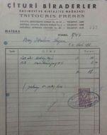 1957 Yılı Fatura (Çituri Biraderler - Basımevi ve Kırtasiye Mağazası Tsitouris Freres) Kaynak: http://www.nadirkitap.com/1957-yili-fatura-cituri-biraderler-basimevi-ve-kirtasiye-magazasi-tsitouris-freres-efemera7343827.html