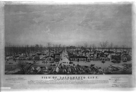 City of Sacramento during the flood of 1850, from the National Archives