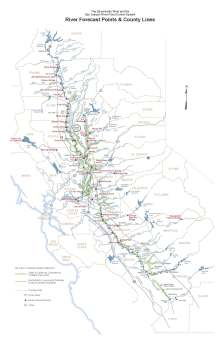 Sacramento and San Joaquin River Forecast Points and County Lines