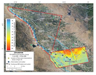 Elevation changes for the southern reaches of the Delta-Mendota Canal, interpreted from satellite-based radar interferograms, July 3, 2003–May 22, 2008, San Joaquin Valley, California. Negative values indicate subsidence, and positive values indicate uplift.