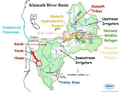 A political map of the Klamath River Basin