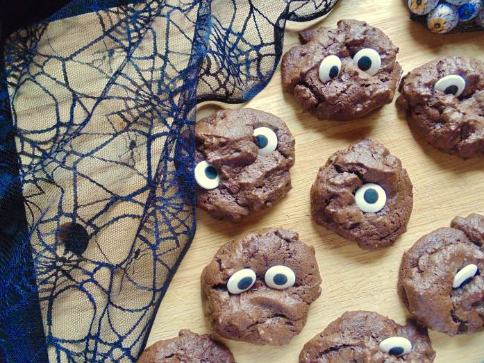 triple chocolate spooky cookies