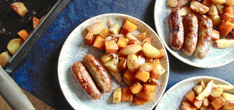 one pan sausage, squash, potato and red wine traybake