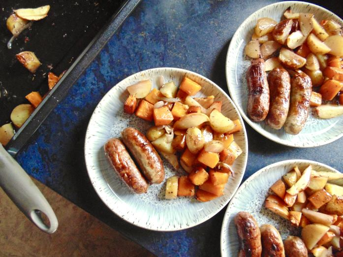 One Pan Sausage, Squash, Potato and Red Wine Traybake