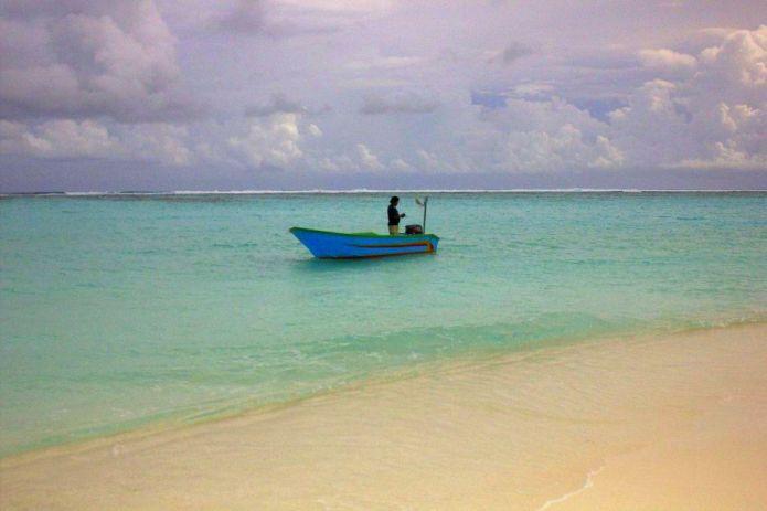 Boat on Beach in Maldives