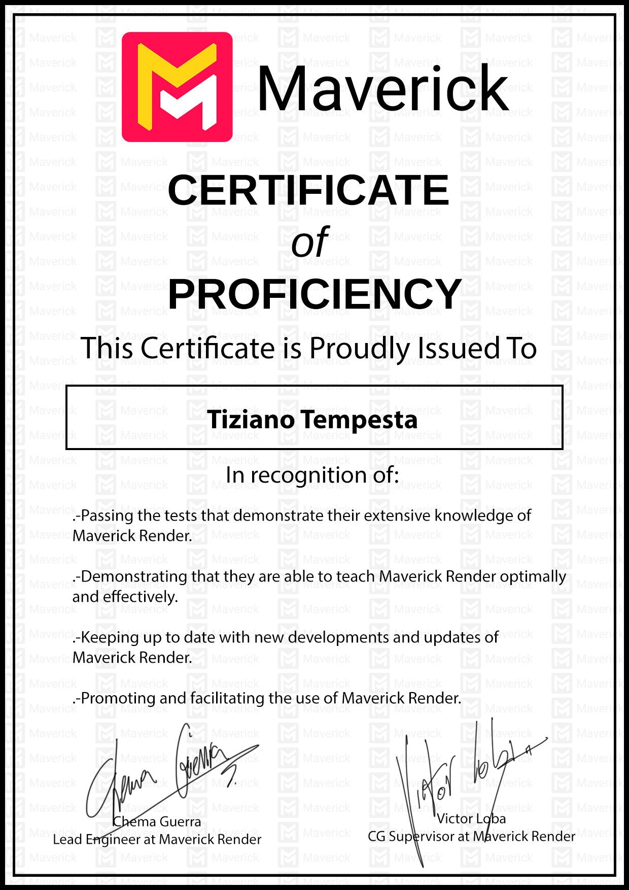 maverickrender-certificate-of-proficiency-tiziano-tempesta