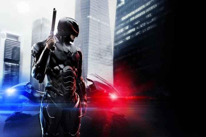 Robocop against city backdrop
