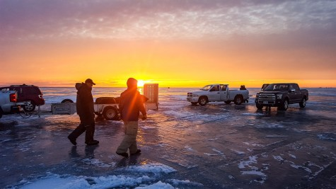 Stuck on Lake Ice Fishing