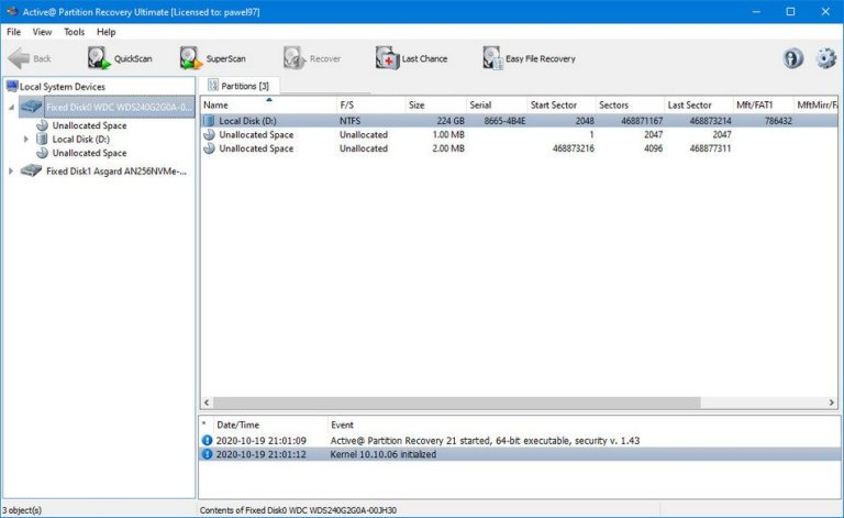 Active Partition Recovery Screenshot