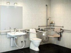 Adjustable bathroom with fixtures mounted on horizontal track