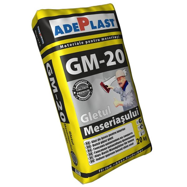 Gletul meseriasului pe baza de ipsos, Adeplast GM-20, pentru interior, 20 kg