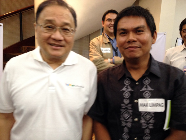 "TAKE RISKS. With Manuel Pangilinan, who told bloggers, ""we want the youth to dare, to innovate."""