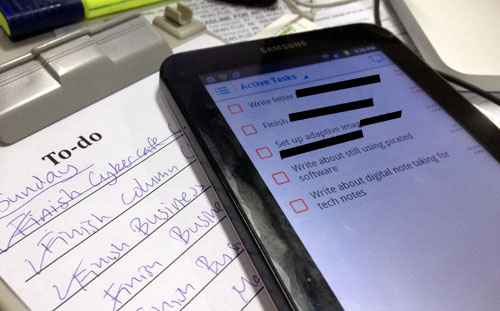 MANAGING TASKS. From the clipboard to phones and tablets, task management has gone digital. Above, my Galaxy Tab displays active tasks that I have to do right away. The clipboard, on the other hand, lists routine daily tasks related to my business section responsibilities.