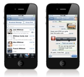 WhatsApp Messenger is a cross-platform mobile messaging app available for iPhone, BlackBerry, Android, Windows Phone and Nokia. (Photo taken from the WhatsApp website)