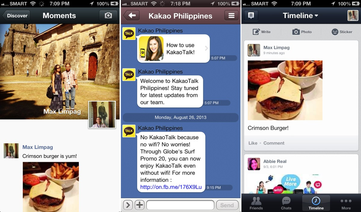 WEChat, Line and KAkaoTalk