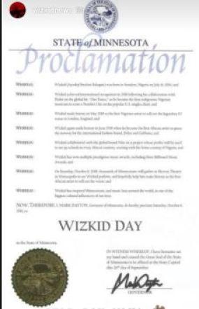 Nigeria to The World: US Governor Declares October 6 'Wizkid Day'